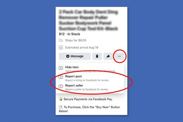 Facebook Marketplace Scams - Screen Showing How To Report Facebook Marketplace Post Or Seller