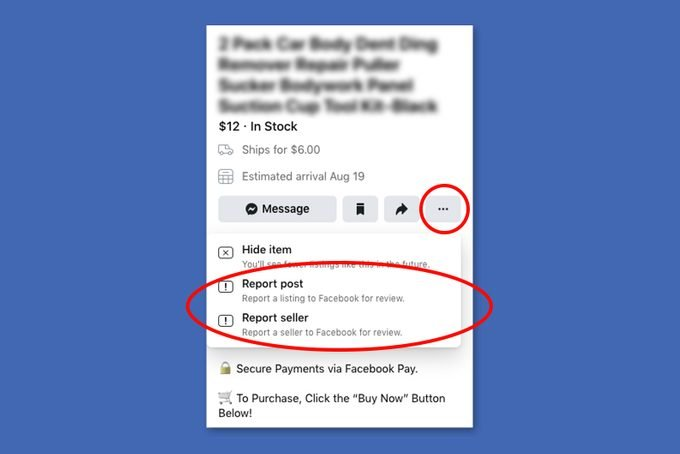Screen Showing How To Report Facebook Marketplace Post Or Seller