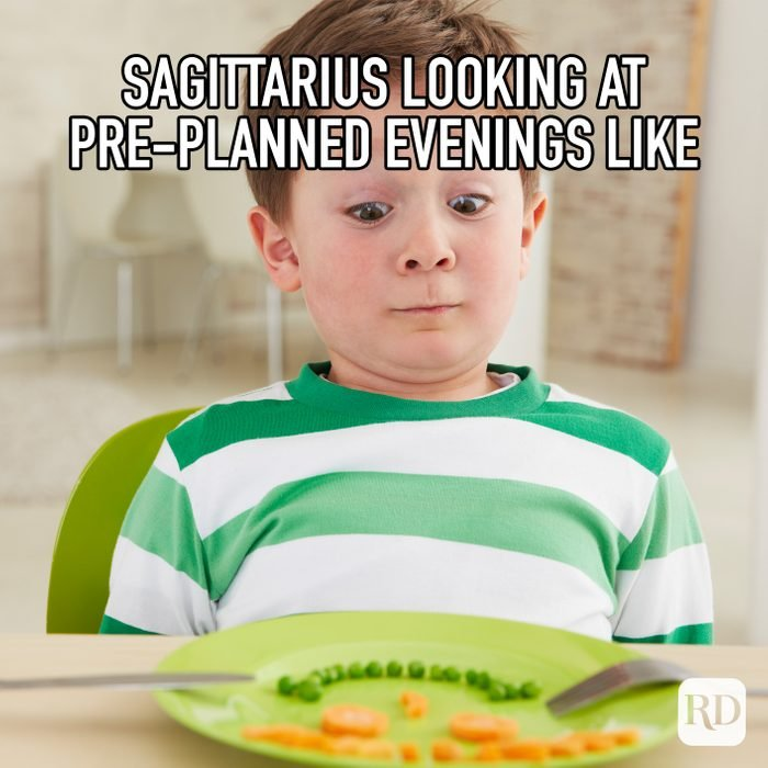 Sagittarius Looking At Pre Planned Evenings Like meme text on top of child looking frightened of vegetables on plate