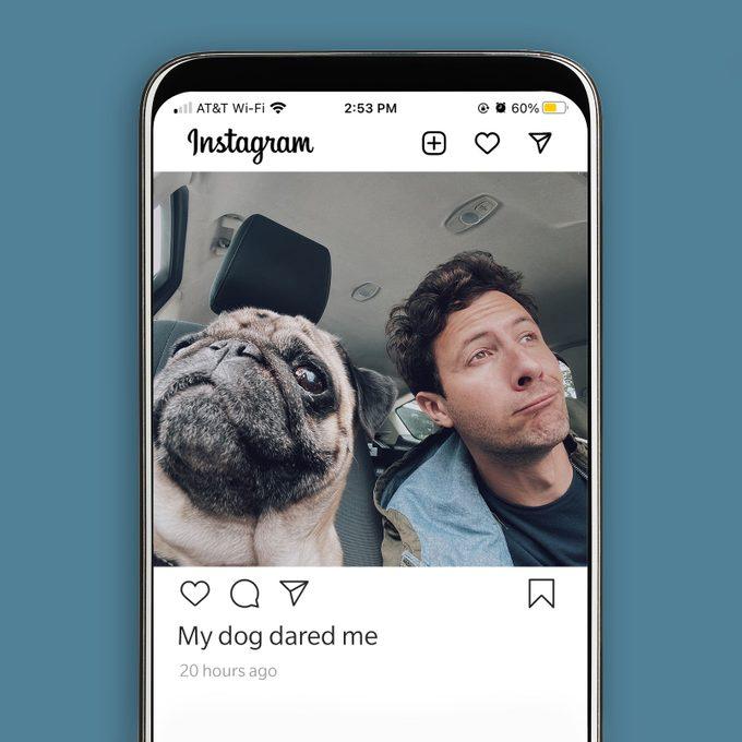 Man and pug take car selfie