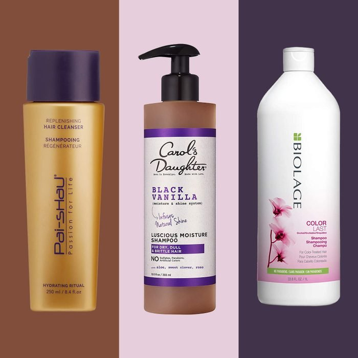 Three shampoos on multicolor background