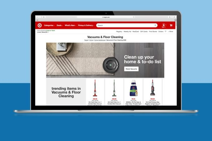 Target Vacuums And Floor Cleaning on laptop screen