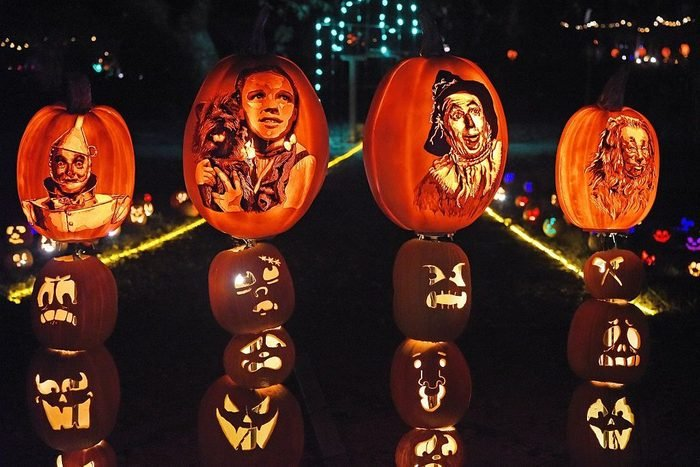 Wizard of Oz characters carved into halloween pumpkins