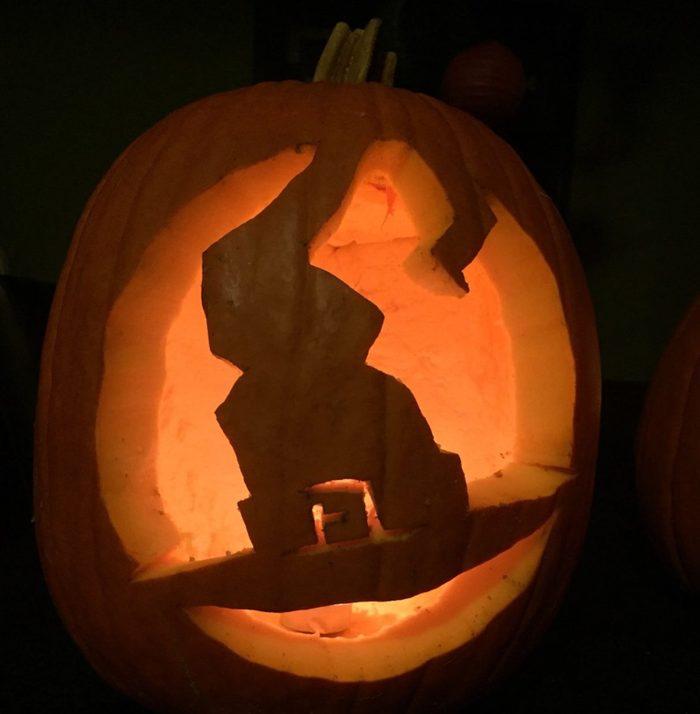 Witch Hat Carved Pumpkin