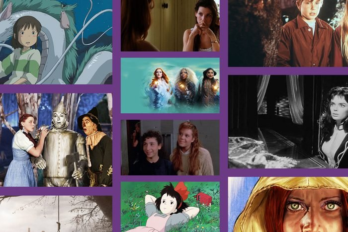 Collage of witch movies on purple background