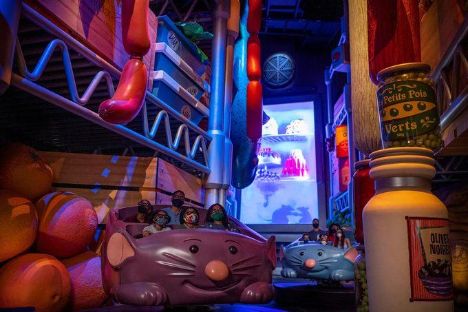 Interior view of Remy's Ratatouille Adventure at Epcot at Walt Disney World Resort in Lake Buena Vista, Florida