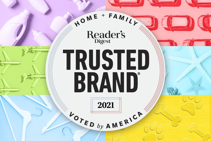 Reader's Digest 2021 Trusted Brands Home And Family logo over a collage of images representing the different categories