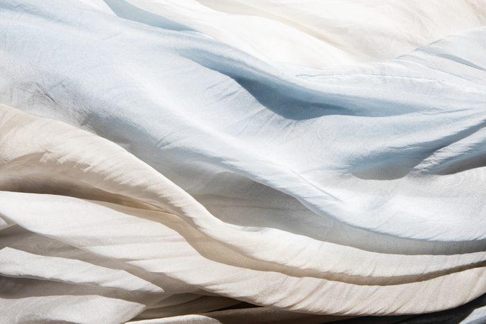Silk sheet ready to go in the washing machine