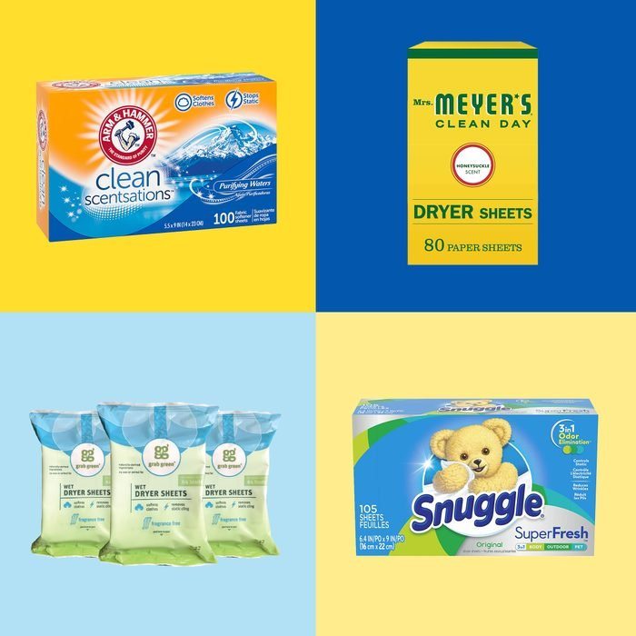 4 Dryer Sheet packages on blue and yellow square backgrounds