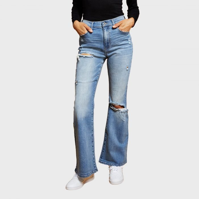 And Now This Ripped Flare Leg Jeans