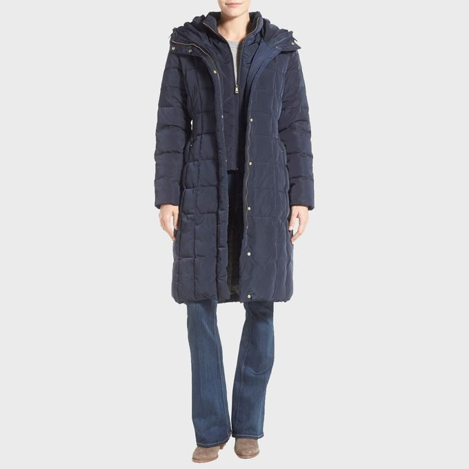 Cole Haan Bib Insert Down And Feather Fill Coat