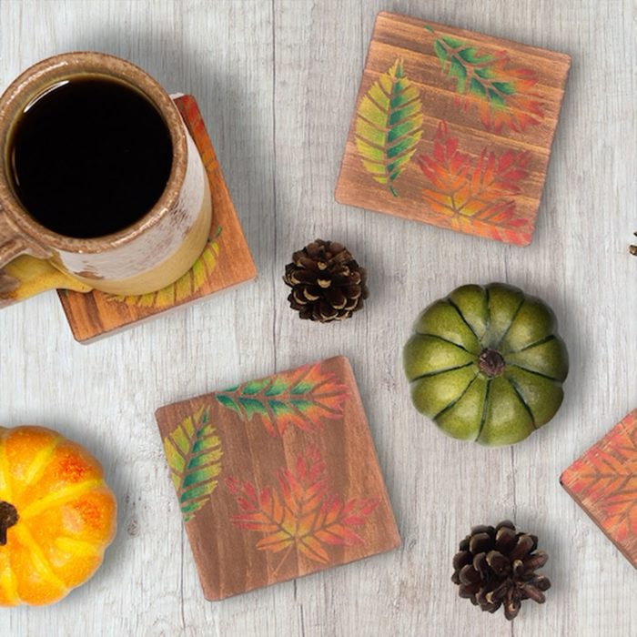 Colored Pencil Wooden Drink Coasters