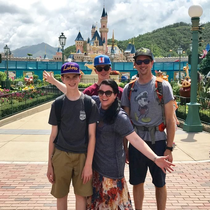 Heather Sievers and family at disneyland hong kong park