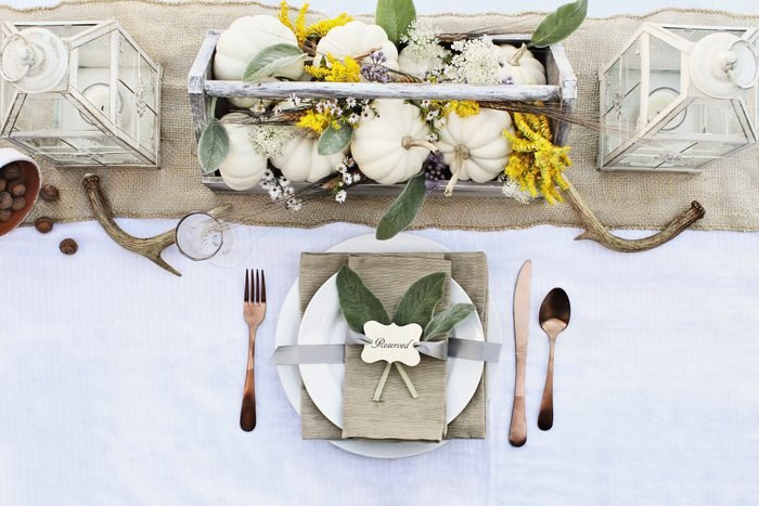 Autumn Table Setting with white pumpkins
