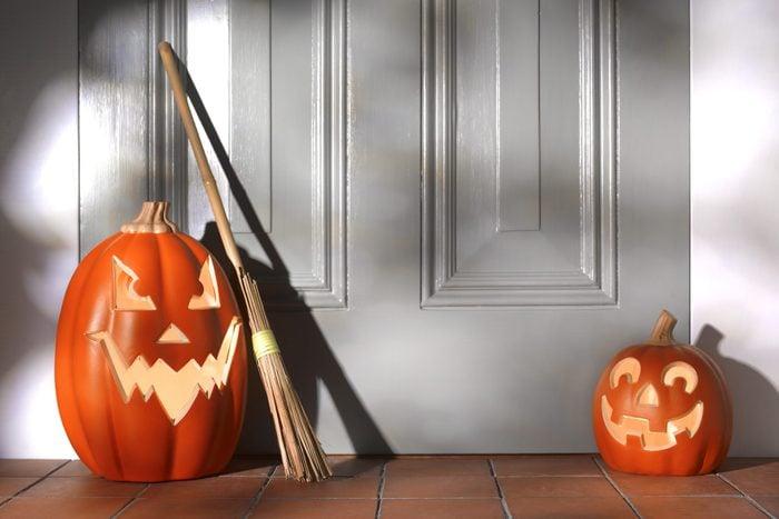 Illuminated Halloween Pumpkins on doorstep