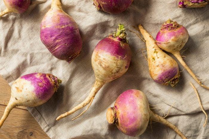 Raw Organic Purple and White Turnips