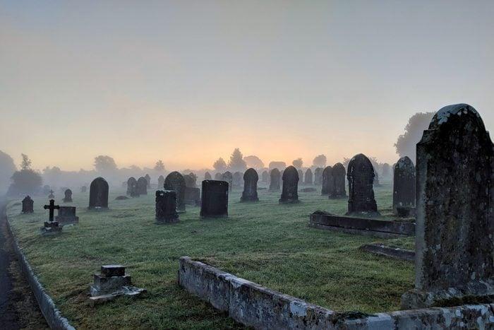 Misty haunted cemetery