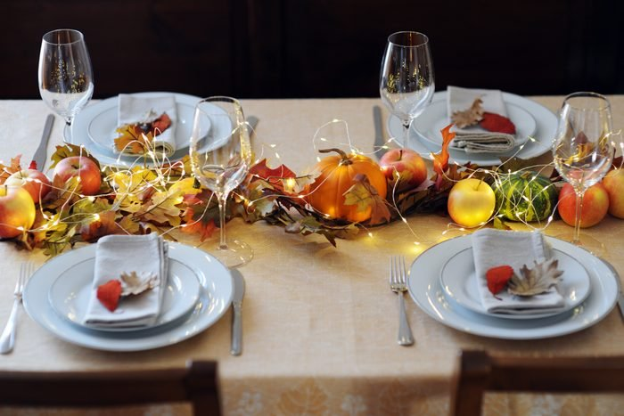 thanksgiving table setting with fairy lights