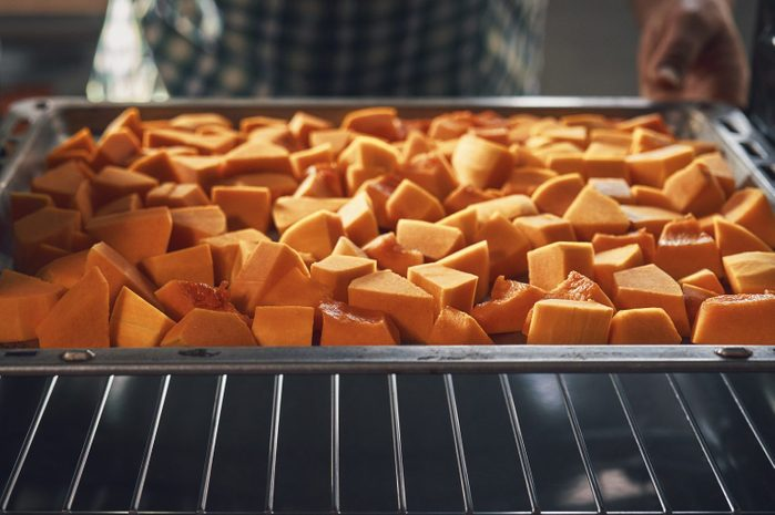 pumpkin cubes cooking in the oven