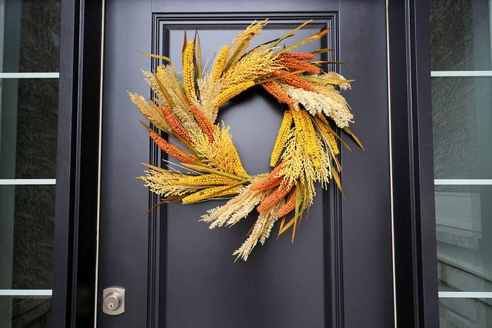 Black Front Door Autumn Wheat Wreath