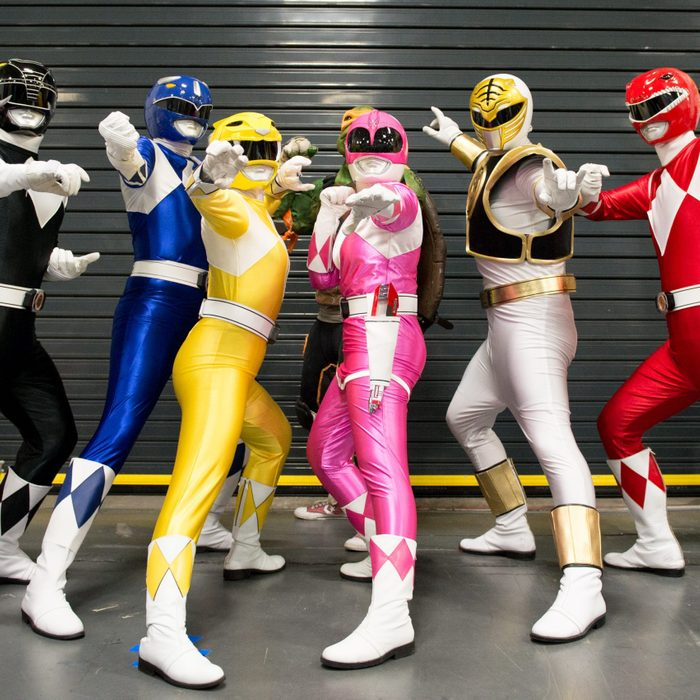 group of friends dressed as power rangers for halloween