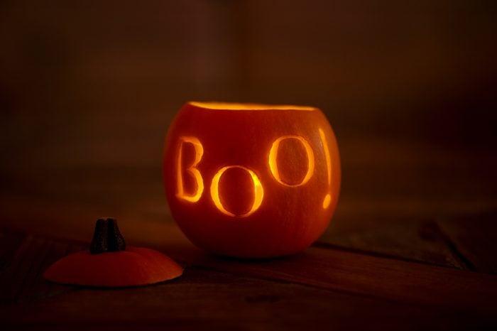 Carved lit pumpkin for Halloween