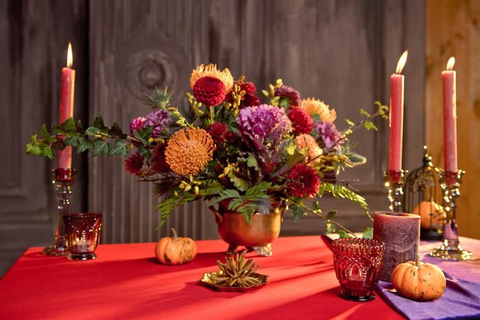 colorful thanksgiving table linens