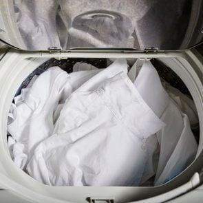 White Clothing in the washing machine.