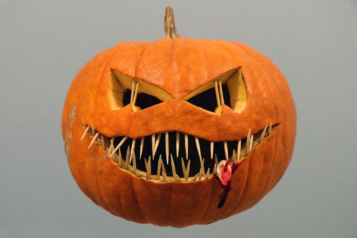 Close-Up Of Scary Halloween Pumpkin