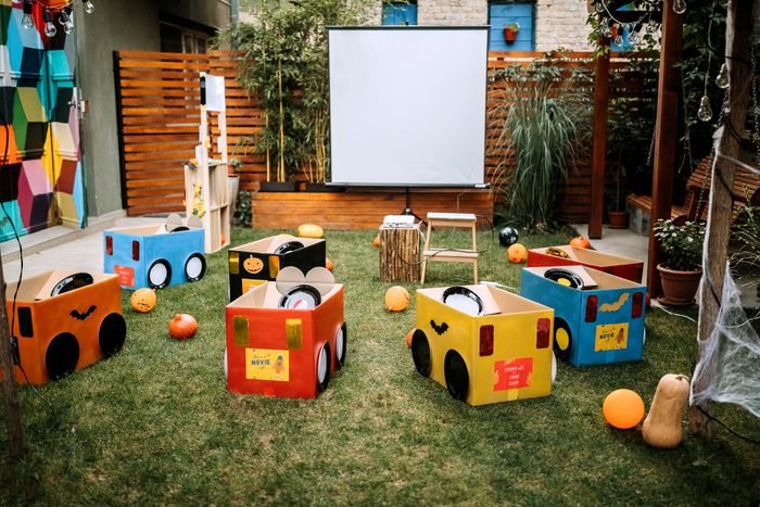 Backyard drive-in movie night for kids Halloween party