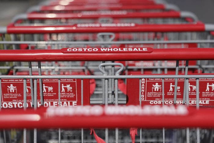 close up of costco shopping carts lined up
