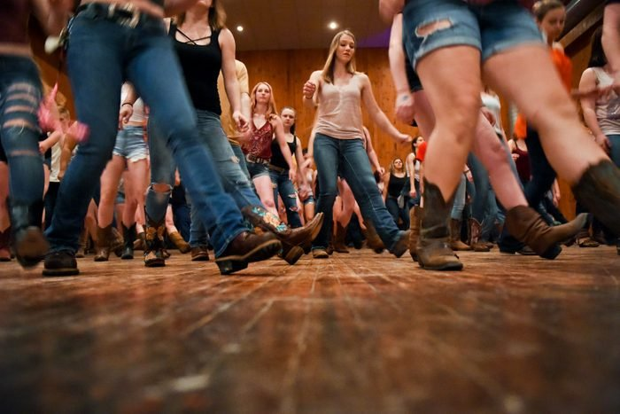 People participate in line dancing at CJ Hummels Restaurant, Bar and Gathering Place in Lenhartsville on Thursday, May 24, 2018. Photo by Natalie Kolb