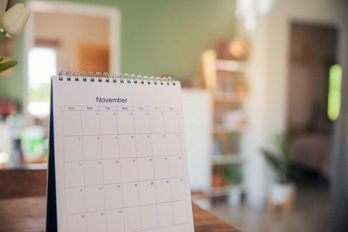 november calendar on desk at home