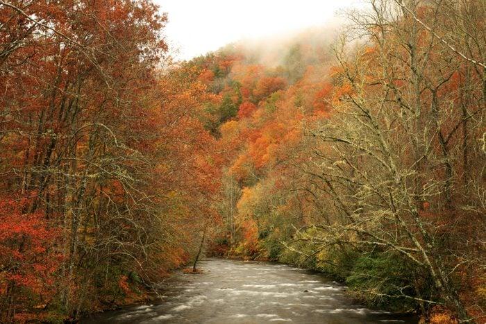 oconaluftee river in autumn