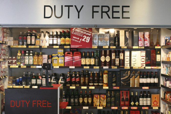 Duty free store in the airport