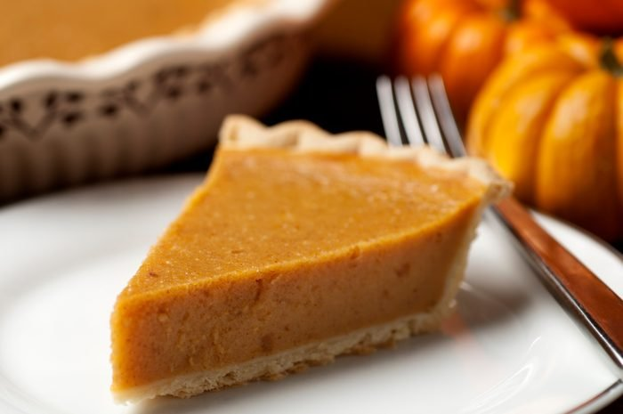 slice of pumpkin pie close up
