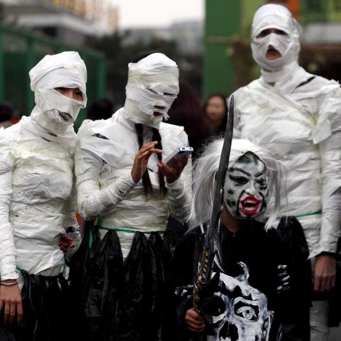Mummies and the Grim Reaper Halloween Costume