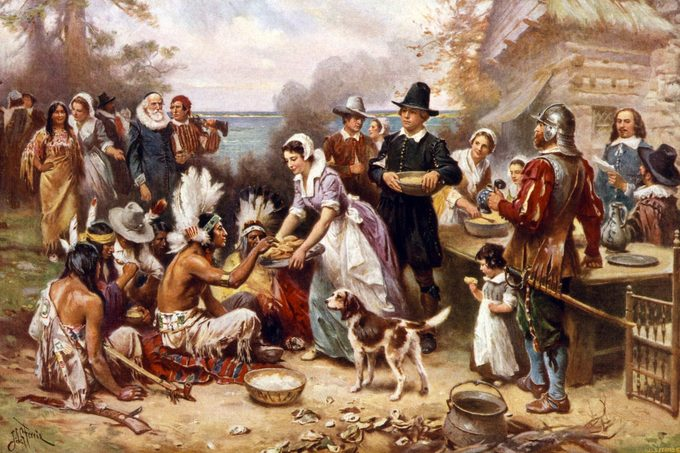 Painting of the first thanksgiving in 1621