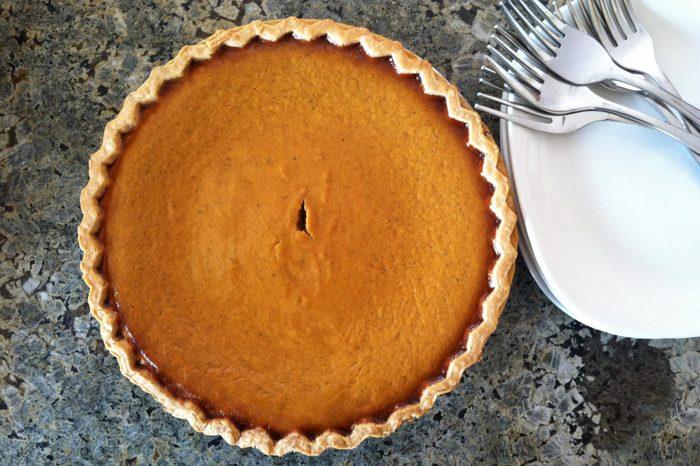 Pumpkin Pie Ready For Serving