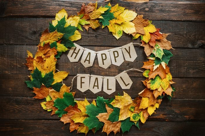 Happy fall lettering on paper cardboard eco garland