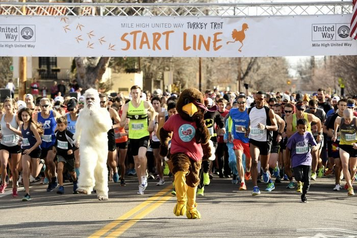 The annual Thanksgiving day Turkey Trot in Denver Colorado