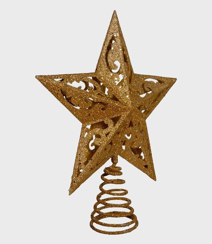 Gold And Glittered Christmas Tree Topper Via Amazon