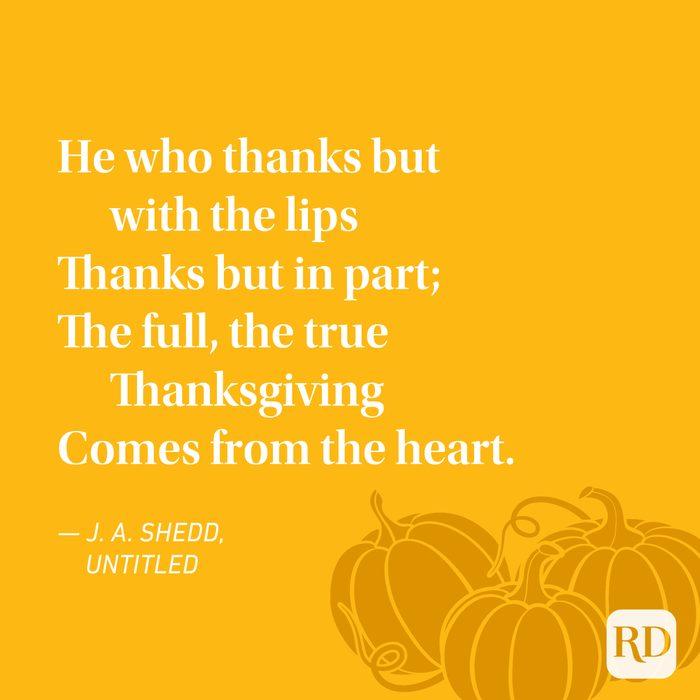 J. A. Shedd Thanksgiving Poems