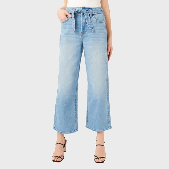 Jen7 Tie Front Crop Wide Leg Jeans