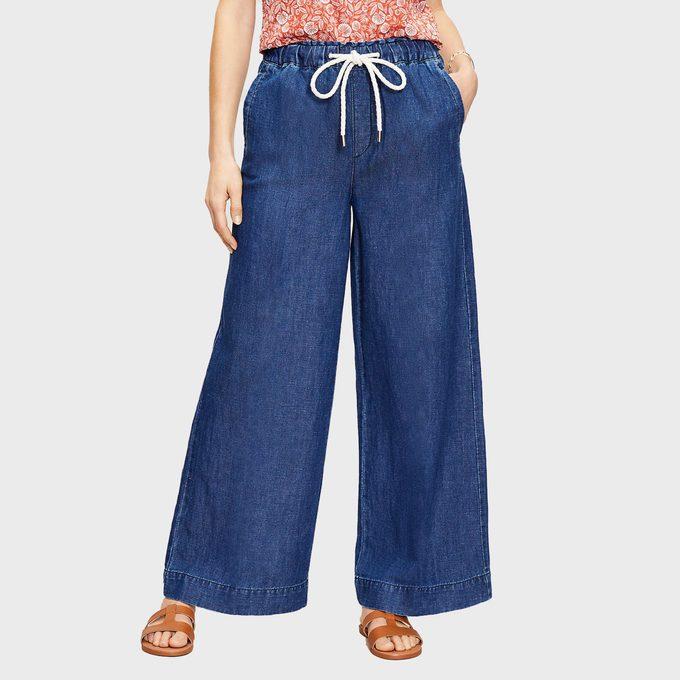 Loft High Rise Cotton Wide Leg Jeans