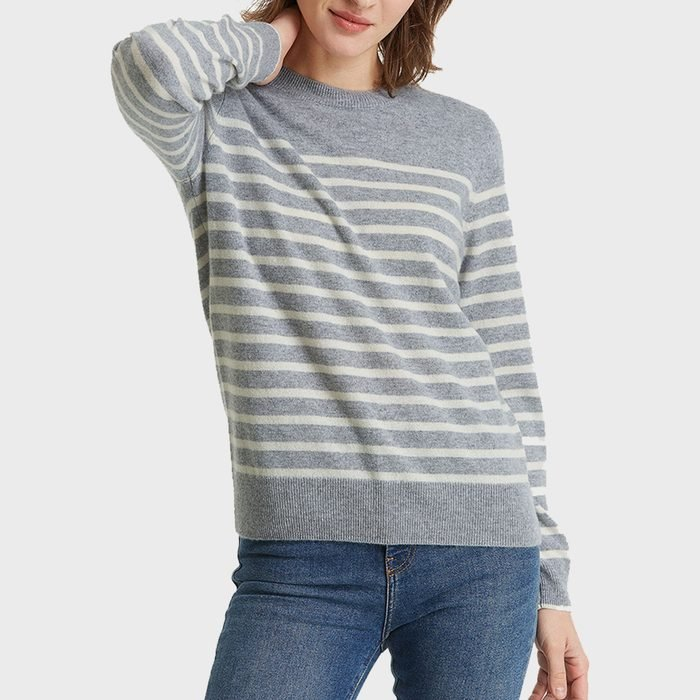Lily Silk Classic Navy Style Cashmere Sweater