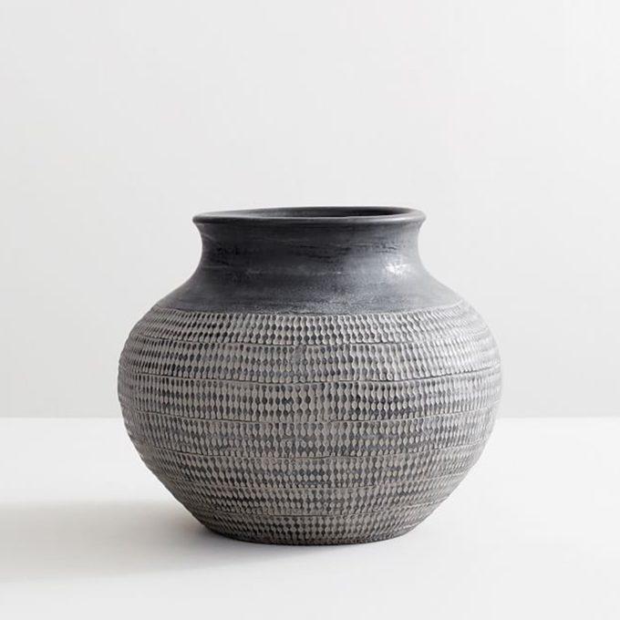 Pottery Barn Fraiser Handcrafted Etched Vase