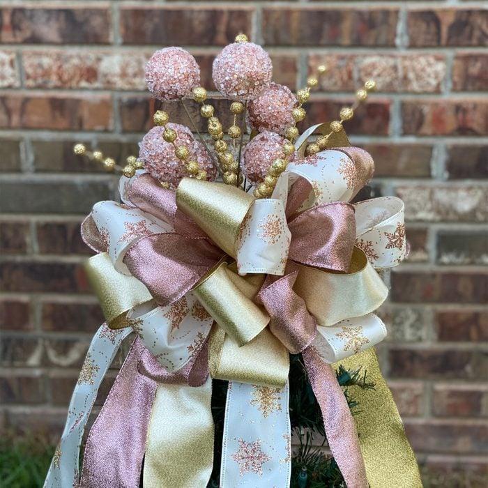 Rose Gold Christmas Tree Topper Via Etsy
