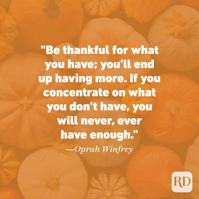 Thanksgiving Quote by Oprah Winfrey