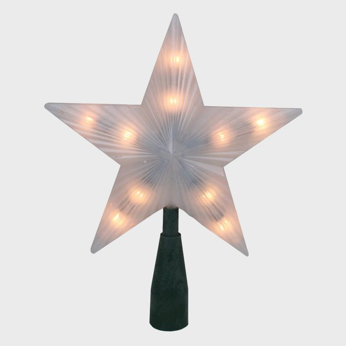 White Frosted Star Christmas Tree Topper Via Target